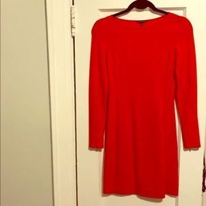 Theory red long sleeved dress